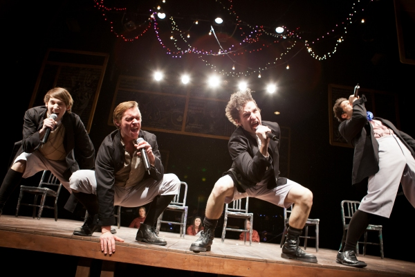 Chris Cowan (Ernst), Zach Adkins (Melchior), James Penca (Moritz), and Nick Varricchio (Hanschen) at Beck Center for the Arts' SPRING AWAKENING