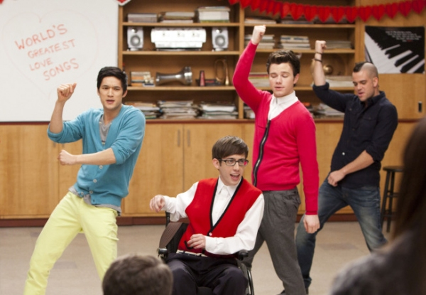Harry Shum Jr., Kevin McHale, Chris Colfer, Mark Salling at First Look at GLEE's 'Heart' Episode