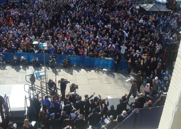 MVP Eli Manning takes a victory lap Photo