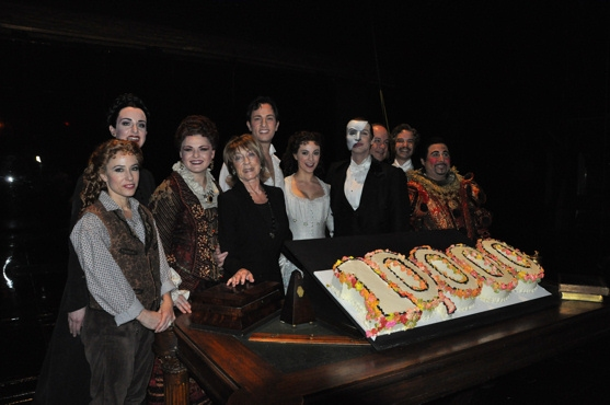 Heather McFadden, Cristin J. Hubbard, Michele McConnell, Gillian Lynne, Kyle Barisich, Trista Moldovan, Hugh Panero, Kevin Legon, Aaron Galligan-Stierle and Christian Sebek at THE PHANTOM OF THE OPERA Celebrates 10,000 Performances!