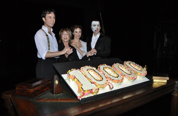 Kyle Barisich, Gillian Lynne, Trista Moldovan and Hugh Panaro at THE PHANTOM OF THE OPERA Celebrates 10,000 Performances!