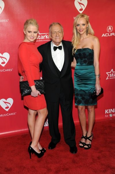 Hugh Hefner arrives at the 2012 MusiCares Person Of The Year Gala Honoring Paul McCartney at the Los Angeles Convention Center in Los Angeles, California. February 10, 2012. © Jay Valena / Retna Ltd.