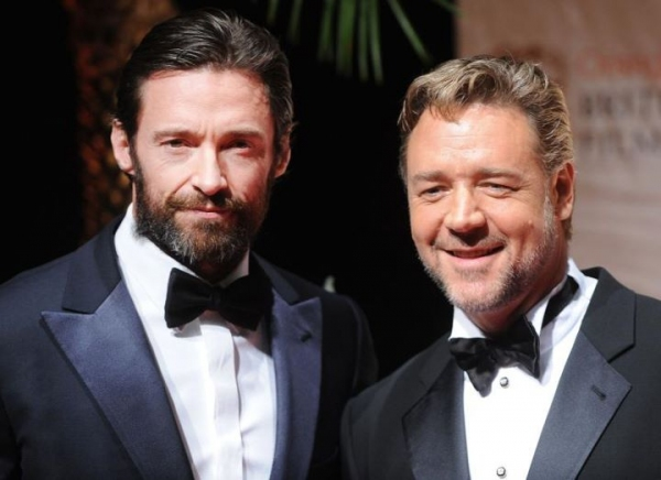 Hugh Jackman and Russel Crowe at LES MIS Stars Hugh Jackman & Russell Crowe at BAFTA Awards