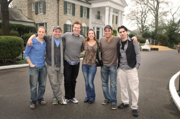Martin Kaye, Christopher Ryan Grant, Lee Ferris, Kelly Lamont, Cody Slaughter, and Derek Keeling at MILLION DOLLAR QUARTET Tour Cast Visits to Elvis' Graceland