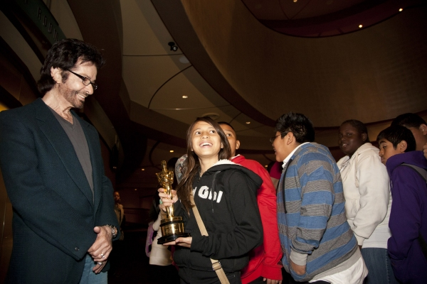 George Chakiris with Lindsay Martinez, 6th grader, Carver MS