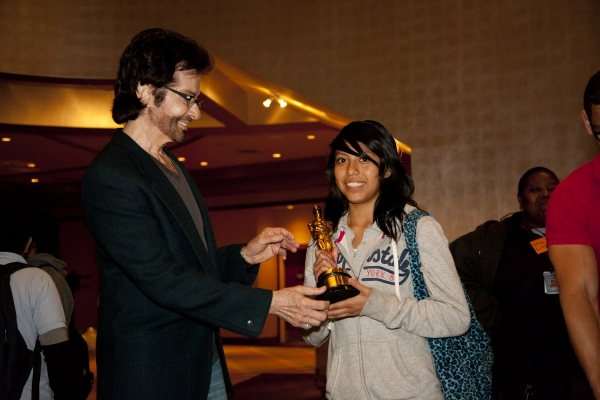 George Chakiris with Jennifer Aldana, 8th grader, Carver MS