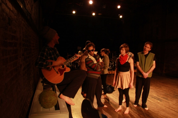 Raphael Sacks, Mike O'Bauer, Zoe Anastassiou, Neva Cockrell, Sasha Bogdanowitsch at La MaMa's EROSION: A FABLE by Loom Ensemble
