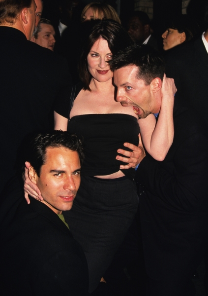 Megan Mullally, Sean Hayes, and Eric McCormack (Will & Grace) pictured at a NBC party at Spy Bar in New York City on May 17, 1999 at Photo Blast From The Past: Megan Mullally, Sean Hayes, and Eric McCormack