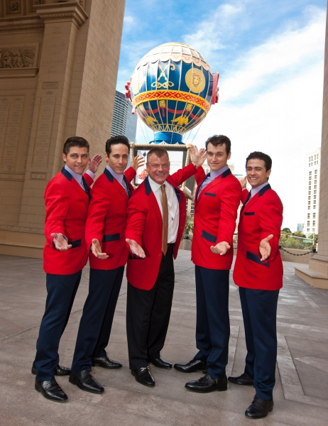 Deven May, Jeff Leibow, regional President of Paris Las Vegas, David Hoenemeyer , Rob Marnell and Graham Fenton pictured as JERSEY BOYS Arrive in a 1959 Cadillac to New Home at Paris Las Vegas in Las vegas, NV on February 23, 2012.  Upon the castÕs arriv