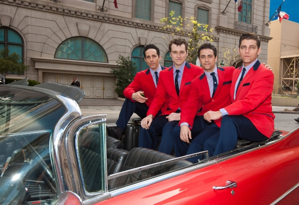 Jeff Leibow, Rob Marnell, Graham Fenton and Deven May pcitured as JERSEY BOYS Arrive in a 1959 Cadillac to New Home at Paris Las Vegas in Las vegas, NV on February 23, 2012.  Upon the cast�'•s arrival, they will be greeted by president of Paris Las Vega