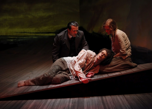 Rod Brogan (Andrew Mayo), Wrenn Schmidt (Ruth Atkins), Lucas Hall (Robert Mayo, pictured laying down) in Eugene O'Neill's BEYOND THE HORIZON at Irish Repertory Theatre's BEYOND THE HORIZON