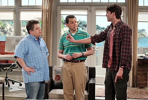 Patton Oswalt, Jon Cryer & Ashton Kutcher at Comedian Patton Oswalt Guest Stars on CBS's TWO AND A HALF MEN, 2/27