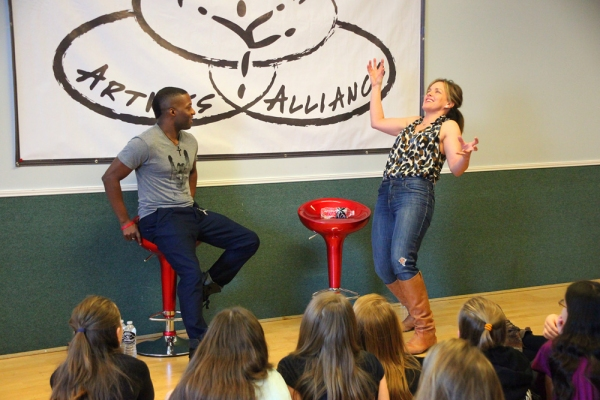 Tyrick Wiltez Jones and Alice Ripley at Alice Ripley Surprises Students at Broadway Artists Alliance Workshop