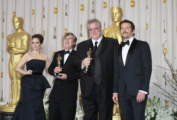 Tina Fey and actor Bradley Cooper pose with Eugene Gearty (second from left) and Philip Stockton (second from right), winners of the Sound Editing Award for 'Hugo' at 2012 Academy Awards - The Winners!