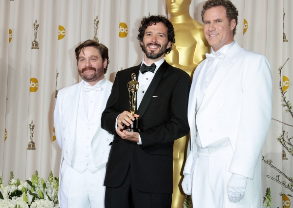 Zach Galifianakis, actor-musician Bret McKenzie, and actor Will Ferrell at 2012 Academy Awards - The Winners!