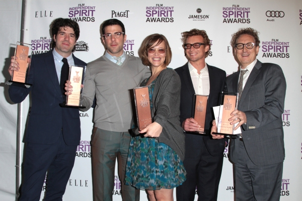 J.C. Chandor, Zachary Quinto, Tiffany Little Canfield, Simon Baker and Bernard Telsey pictured at the 2012 Film Independent Spirit Awards Press Room in Santa Monica, Ca February 25, 2012 © RD / Orchon / Retna Digital at Christopher Plummer & More Win Big at the 2012 Spirit Awards