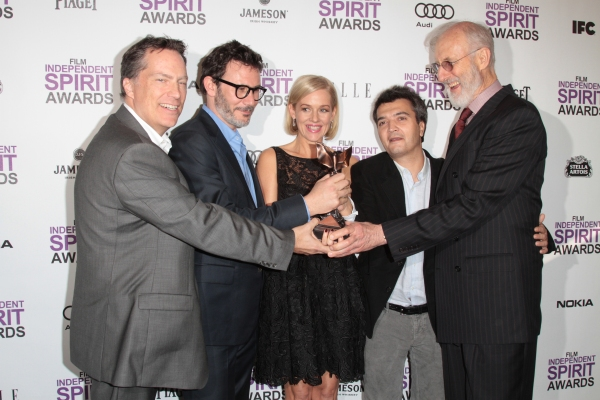 Richard Middleton, Michel Hazanavicius, Penelope Ann Miller,Thomas Langmann & James Cromwell pictured at the 2012 Film Independent Spirit Awards Press Room in Santa Monica, Ca February 25, 2012 © RD / Orchon / Retna Digital at Christopher Plummer & More Win Big at the 2012 Spirit Awards