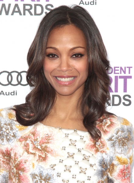 Zoe Saldana pictured arriving at the 2012 Film Independent Spirit Awards in Santa Monica, Ca February 25, 2012 © RD / Orchon / Retna Digital at 2012 Starry Spirit Awards Red Carpet - Zac Efron, Michelle WIlliams & More!