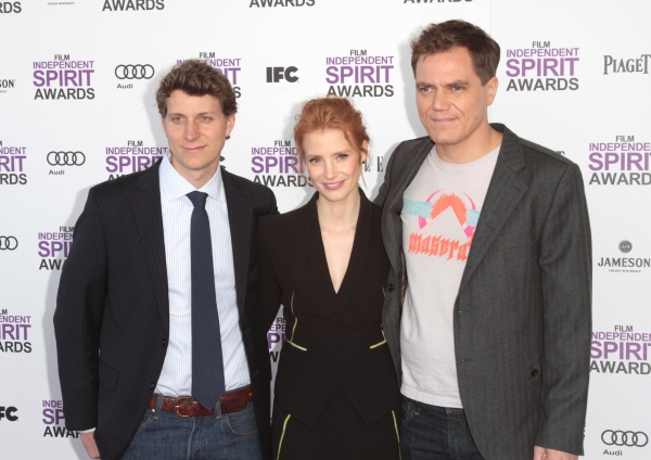 Jeff Nichols, Jessica Chastain and Michael Shannon pictured arriving at the 2012 Film Independent Spirit Awards in Santa Monica, Ca February 25, 2012 © RD / Orchon / Retna Digital