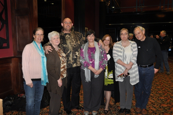 Bill Lewis and Ronan Tynan and longtime fans-Gerri Craven, Genevieve Rafter Keddy, Brenda Houghton, Lauren Bridgeo and Carolyn Beard get together after the show