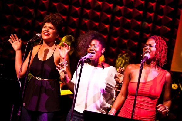 Emmy Raver-Lampman, Phyre Hawkins and Luly Fall at Broadway Remembers Whitney Houston at Joe's Pub