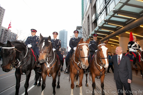 David Mirvish with the Toronto Mounted Police at WAR HORSE Opens in Toronto - All the Red Carpet Action!