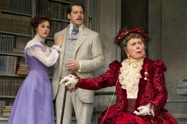 Sarah Topham, David Furr, and Brian Bedford in 'The Importance of Being Earnest'