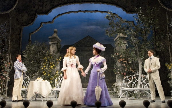 Santino Fontana, Charlotte Parry, Sarah Topham, and David Furr in 'The Importance of Being Earnest'