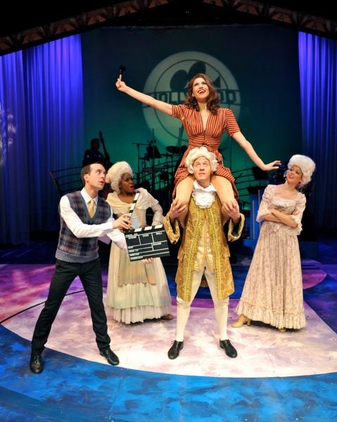 Blakely Slaybaugh, Mary Millben, Stacey Harris (in the air), Deidre Haren, and Sean Watkins