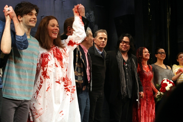 Andy Mientus, Marin Mazzie, Lawrence D. Cohen, Dean Pitchford, Stafford Arima,Molly Ranson & Jen Sese  at CARRIE's Opening Night Bloody Curtain Call!