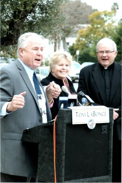 Tom LaBonge, Linda Hope and Msgr. Bob Gallagher