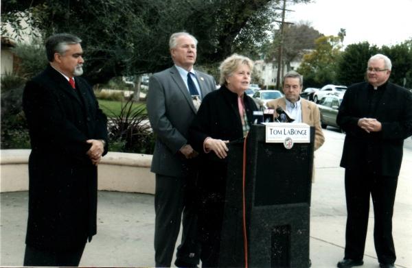 Burbank Mayor Jess Talamantes, Tom LaBonge, Linda Hope, Harry Flynn and Msgr. Bob Gallagher