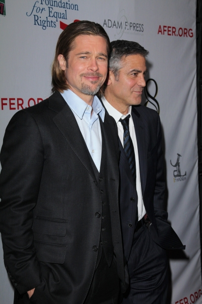 Brad Pitt and George Clooney  at Star Studded Arrivals at '8' Premiere