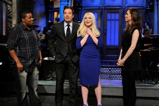 Kenan Thompson, Jimmy Fallon, Lindsay Lohan & Kristin Wiig at Lindsay Lohan Hosts SATURDAY NIGHT LIVE