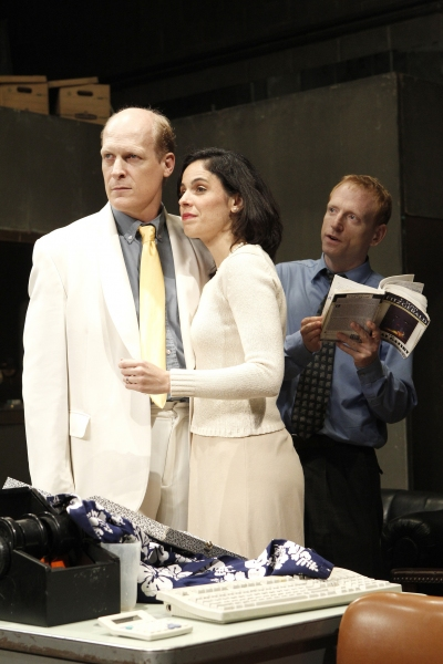 Jim Fletcher, Victoria Vazquez and Scott Shepherd in GATZ, created by Elevator Repair Service and directed by John Collins, running at The Public Theater. Photo credit: Joan Marcus