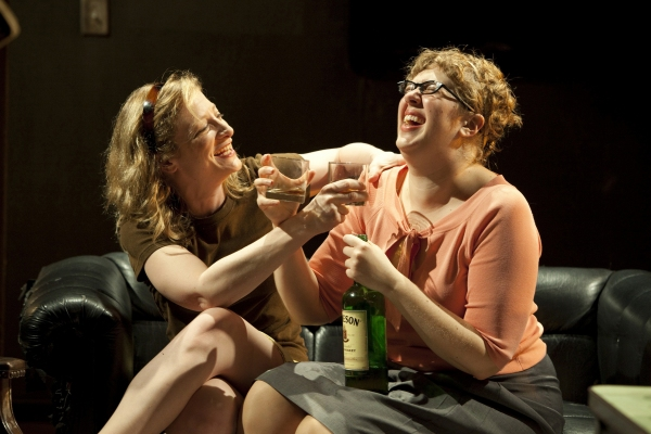 Annie McNamara and Kate Scelsa in GATZ, created by Elevator Repair Service and directed by John Collins, running at The Public Theater. Photo credit: Joan Marcus