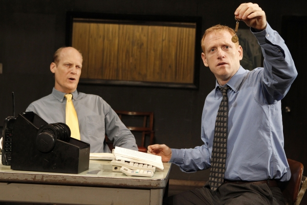 Jim Fletcher and Scott Shepherd in GATZ, created by Elevator Repair Service and directed by John Collins, running at The Public Theater. Photo credit: Joan Marcus