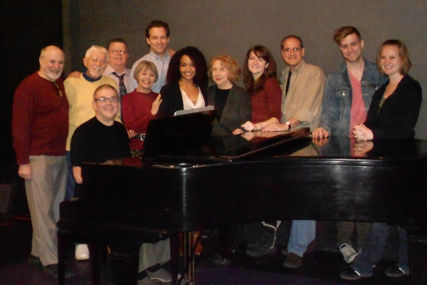 Geoff Cohen, Tom Jones, Michael Rice, Jim Morgan, Susan Watson, Graham Rowat, Stephanie Umoh, Pamela Hunt, Carly Flint, Dan Shaheen, Paul O'Toole and Sarah Butke at Cast Meet & Greet for THE SHOW GOES ON at York Theatre