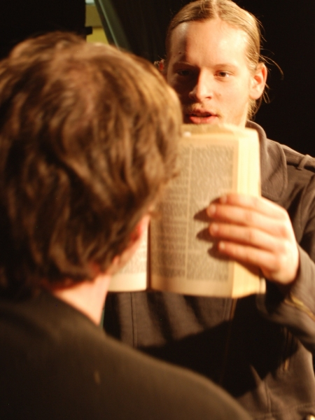 Sean Hall as Hamlet and James Thompson as Laertes (back)