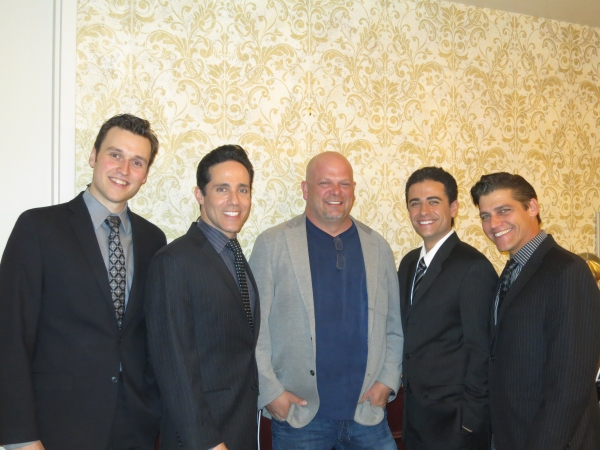 Rob Marnell (Bob Gaudio), Jeff Leibow (Nick Massi), Rick Harrison, Graham Fenton (Frankie Valli) and Deven May (Tommy DeVito) at Pawn Stars' Rick Harrison at JERSEY BOYS Las Vegas