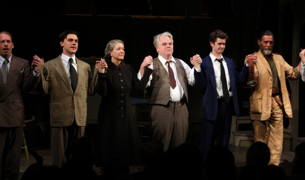 Bill Camp, Finn Wittrock, Linda Emond, Phillip Seymour Hoffman, Andrew Garfield, John Glover & Remy Auberjonois  at DEATH OF A SALESMAN Opens on Broadway! Check out the Curtain Call!