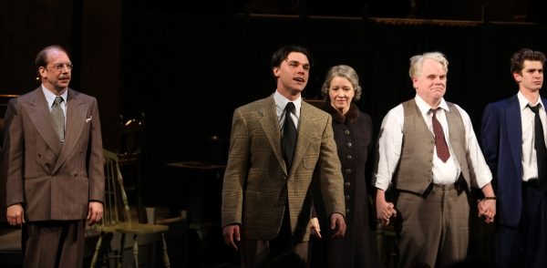 Bill Camp, Finn Wittrock, Linda Emond, Phillip Seymour Hoffman, Andrew Garfield at DEATH OF A SALESMAN Opens on Broadway! Check out the Curtain Call!