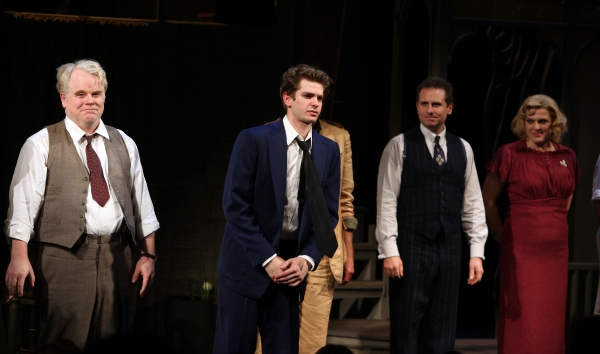 Phillip Seymour Hoffman, Andrew Garfield, John Glover, Remy Auberjonois & Molly Price at DEATH OF A SALESMAN Opens on Broadway! Check out the Curtain Call!
