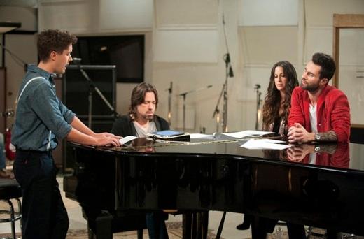 Pip, Alanis Morissette & Adam Levine at First Look - Alanis Morissette Mentors on NBC's THE VOICE, 3/19