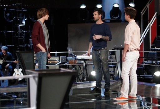 Nathan Parrett, Adam Levine & Pip at First Look - Alanis Morissette Mentors on NBC's THE VOICE, 3/19