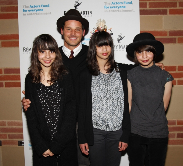 Justin Chambers with his children Eva, Mya and Kayla Photo