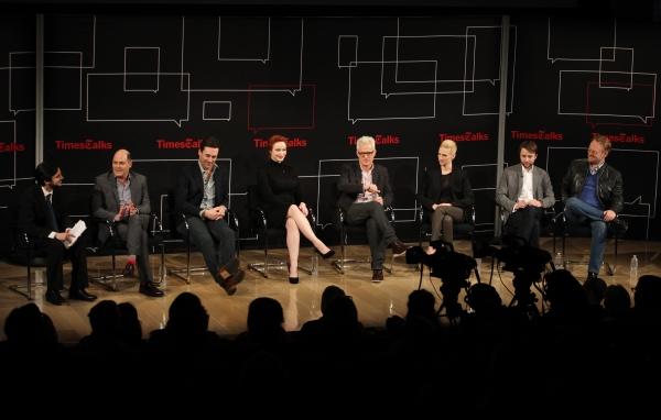 Reporter Dave Itzkoff, Matthew Weiner, Jon Hamm, Christina Hendricks, John Slattery,  Photo