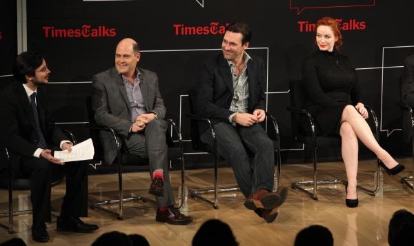Reporter Dave Itzkoff, Matthew Weiner, Jon Hamm, Christina Hendricks