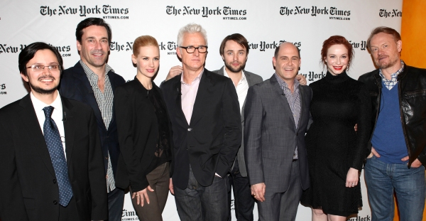 Reporter Dave Itzkoff, Jon Hamm, January Jones, John Slattery, Vincent Kartheiser, Ma Photo