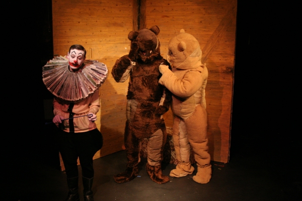 Clown (Rhys King) Ludovic (Dan Frost), Julius (James Sygrove)